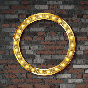 Vector Marquee light circle board sign