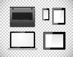 Laptop, tablet pc computer and mobile smartphone with a blank screen. Isolated on a checkered transparency background. Vector