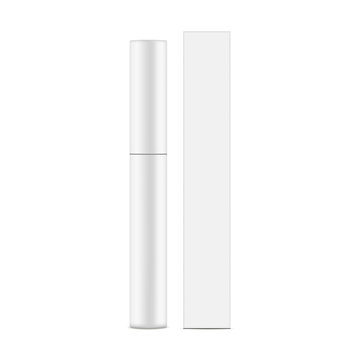 Eyeliner tube with box mockup isolated on white background - front view. Vector illustration