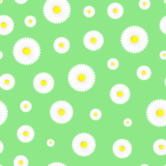 Floral seamless pattern on green background.