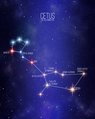 Cetus the sea monster constellation on a starry space background with the names of its main stars. Relative sizes and different color shades based on the spectral star type.