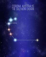 Corona australis the southern crown constellation on a starry space background with the names of its main stars. Relative sizes and different color shades based on the spectral star type.