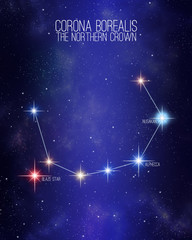 Corona borealis the northern crown constellation on a starry space background with the names of its main stars. Relative sizes and different color shades based on the spectral star type.