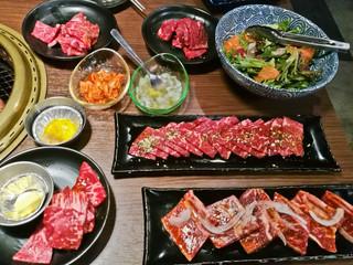 Various premium Japanese Wagyu marbling grilled beef yakiniku fire pot in Tokyo Japan