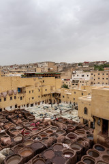 A tannery in Fes from above, Morocco