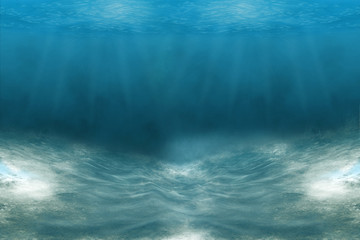 Poster Bleu nuit Turquoise Water near to the Sand underneath forming many little waves reflecting the Sun, Thailand