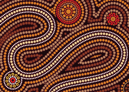 Aboriginal art vector background. Illustration based on aboriginal style of dot painting.