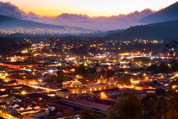 Antigua Guatemala sunset volcano panorama night