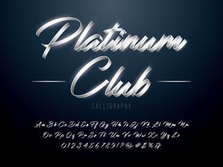 Elegant Silver Colored Metal Chrome alphabet design