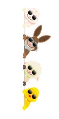 Osterei, Schaf, Osterhase & Küken Sonnenbrille Banner Vertikal