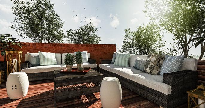 Outdoor Couchelemente auf gemütlicher Terrasse laden zum Verweilen ein