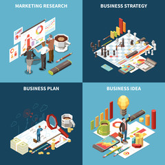 Business Strategy Isometric Icon Set