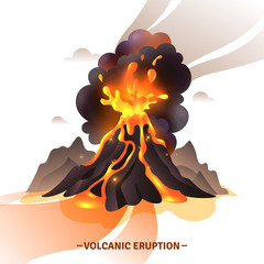 Volcanic Eruption Cartoon Illustration