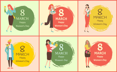 Happy womens day International holiday girls with bouquets on color painted brush dots. Greeting card with flower gifts. Vector caucasian females. 8 March