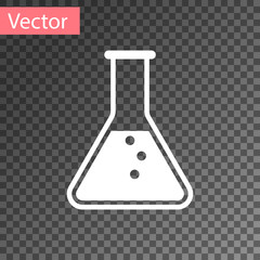 White Test tube and flask - chemical laboratory test icon isolated on transparent background. Vector Illustration