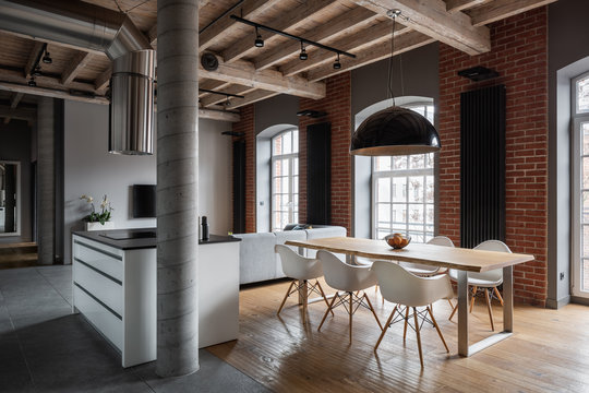 Apartment with brick wall