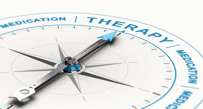 From Medications to Therapy - Complementary or Alternative Treatment for Depression Concept.