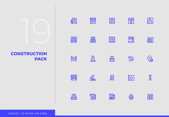 Vector Line Icons Construction Pack