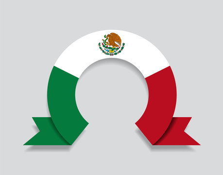 Mexican flag rounded abstract background. Vector illustration.