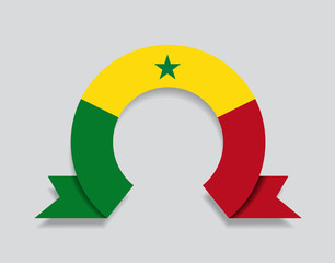 Senegalese flag rounded abstract background. Vector illustration.