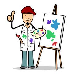 Erfolgreicher Maler Künstler hält Daumen hoch