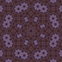 Intensive colors small flowers circle lace form seamless pattern