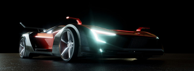 Moderner Sportwagen bei Nacht mit LED Scheinwerfern