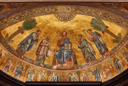Rome, The Papal Basilica of St. Paul outside the walls, Wonderful mosaic of the apse, with Christ and the apostles