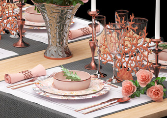 Table setting with a bouquet of flowers in a vase