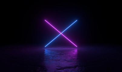 3d abstract background render, two pink and blue neons light on the ground, retrowave and synthwave illustration.