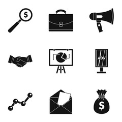 Types of advertising icons set. Simple illustration of 9 types of advertising vector icons for web