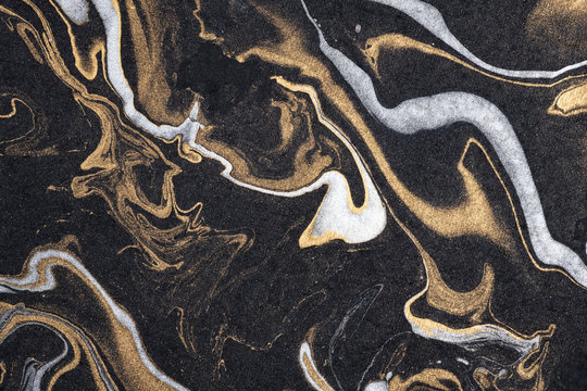 marble ink paper texture black silver gold