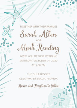 Elegant beach theme wedding invitation with soft turquoise color artwork framing text area. Remove text and personalize for weddings, announcements, parties and greeting cards.