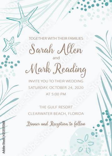 Elegant Beach Theme Wedding Invitation With Soft Turquoise Color