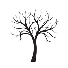 Black Tree without leaves on white background. Vector Illustration.