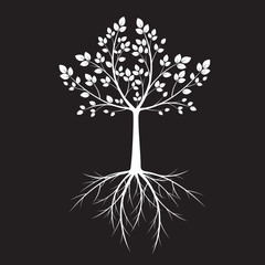 White Tree with leaves on black background. Vector Illustration.