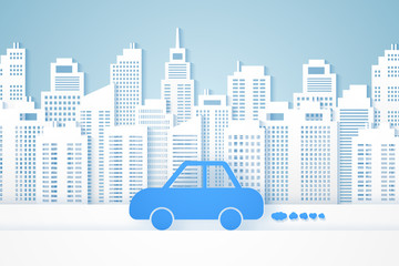 Cityscape , paper building with car