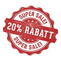 Super Sale! 20% Rabatt Stempel