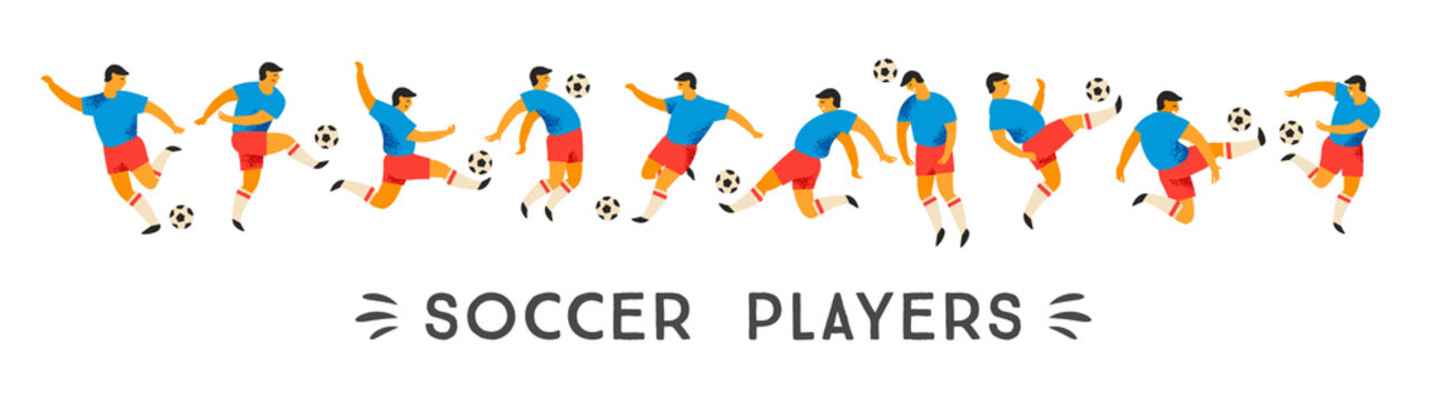 Vector set of soccer players. Design element.