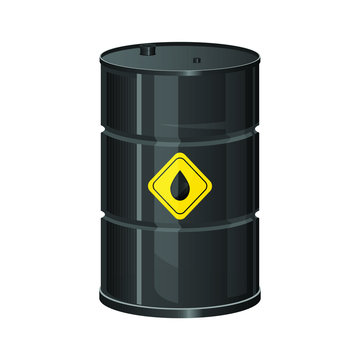 Oil battel with yellow label vector design illustration isolated on white background