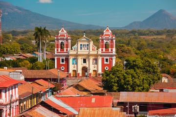 Leon Nicaragua church and volcano view