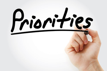 Priorities text with marker, business concept background