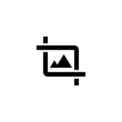 Photo crop icon. Image edit sign