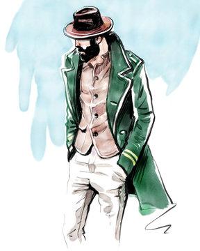Fashion illustration of a stylish and bearded man at Pitti Uomo