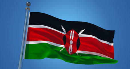 Kenya flag in the wind against clear blue sky, 3d illustration Wall mural