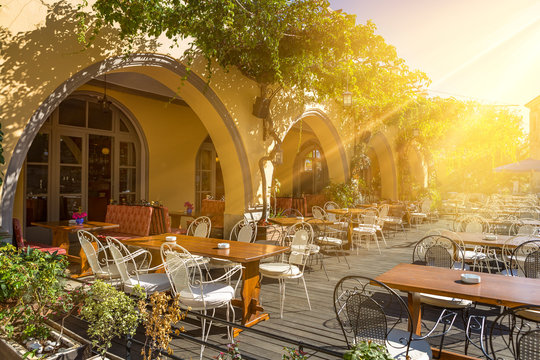 Traditional cafe in Kos town at Kos island, Greece
