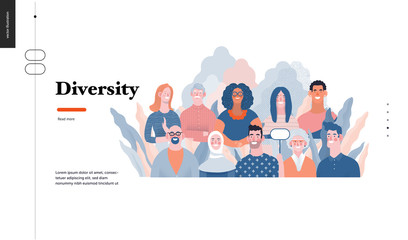 Technology 3 - Diversity - modern flat vector concept digital illustration of various people presenting person team diversity in the company. Creative landing web page design template