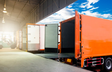 Trucks transportation at distribution warehouse.
