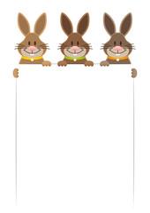 3 Osterhasen Halten Schild