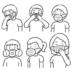 vector set of people using medical protective mask